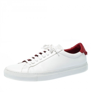 Givenchy White/Red Leather Urban Street Low Top Sneakers Size 45