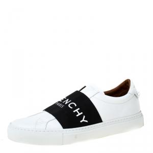 Givenchy White/Black Leather Urban Street Logo Slip On Sneakers Size 40