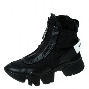 Givenchy Black Nylon and Leather Jaw High Top Sneakers Size 43