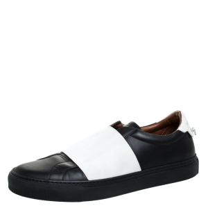 Givenchy White/Black Leather And Elastic Band Urban Street Slip On Sneakers Size 41