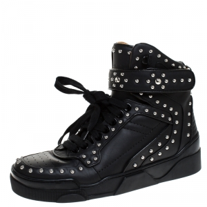 Givenchy Black Studded Leather Tyson High Top Sneakers Size 41