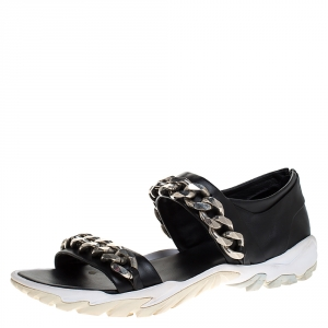 Givenchy Black Leather Palladio Chain Embellished Flat Sandals Size 43