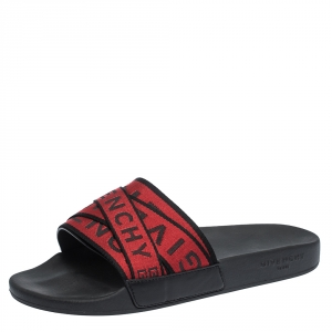 Givenchy Red/Black Fabric Logo Slide Sandals Size 41