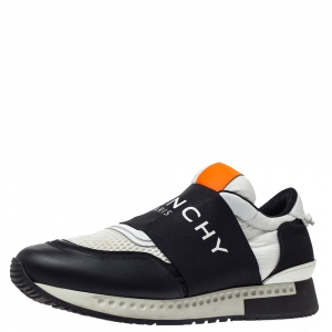 Givenchy Black/White Leather And Mesh Runner Active Low Top Sneakers Size 42