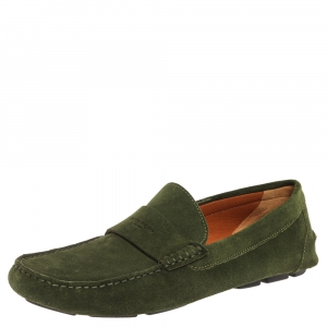 Givenchy Green Suede Leather Slip On Loafers Size 41.5
