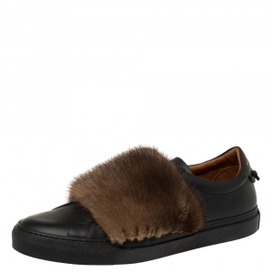 Givenchy Black/Brown Leather and Mink Fur Urban Street Slip On Sneakers Size 45