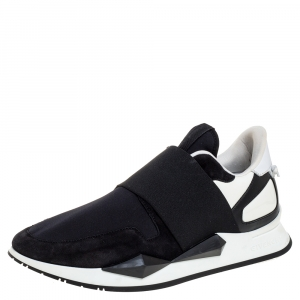 Givenchy Black/White Suede And Neoprene Paneled Sneakers Size 40