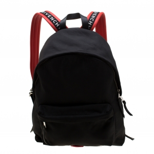 Givenchy Black/Red Logo Strap Nylon and Leather Backpack