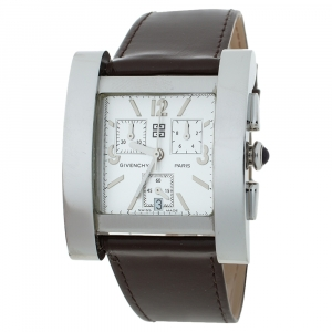 Givenchy White Stainless Steel Leather Koleos Chronograph Men's Wristwatch  36 mm