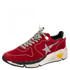 Golden Goose Red Suede Leather Chunky Low Top Sneakers Size 40
