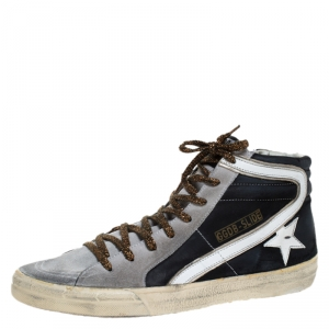 Golden Goose Leather and Suede Distressed High Top Sneakers Size 41