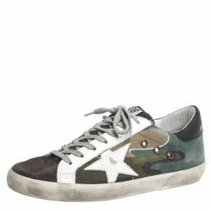Golden Goose Multicolor Canvas And Leather Star Applique Low Top Sneakers Size 40