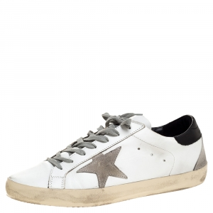 Golden Goose White Leather And Grey Suede Hi Star Sneakers Size 43