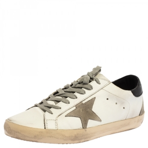 Golden Goose White Leather Superstar Low Top Sneakers Size 43