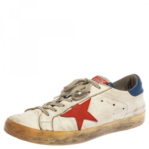 Golden Goose White/Blue Leather Superstar Lace Up Sneakers Size 43