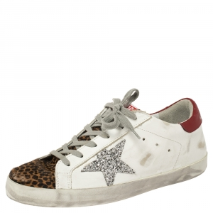 Golden Goose White/ Brown Leather and Calf Hair Superstar Lace Up Sneakers Size 40