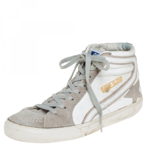 Golden Goose White/Grey Leather And Suede High Top Sneakers Size 40