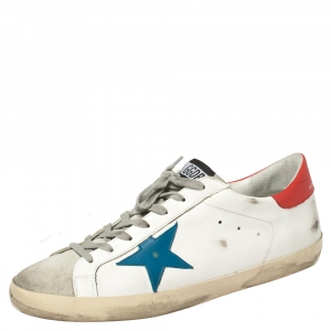Golden Goose White Leather and Suede Superstar Low Top Sneakers Size 46