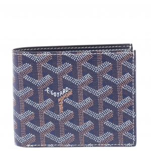 Goyard Blue Goyardine Coated Canvas Bifold Victoire Wallet