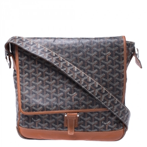 Goyard Black/Brown Leather and Canvas MM Bleu Messenger Bag