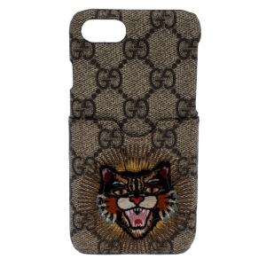 Gucci Beige Supreme Canvas Embroidered Angry Cat Iphone 7 Case