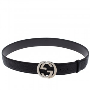 Gucci Black Guccissima Leather Interlocking G Buckle Belt 105CM