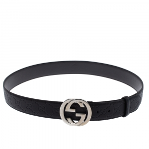 Gucci Black Guccissima Leather Interlocking G Buckle Belt 110CM