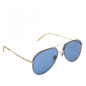 Gucci Gold Tone/Blue GG0356S Aviator Sunglasses