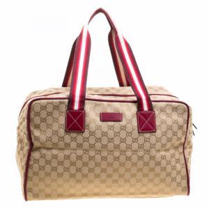 Gucci Beige/Burgundy GG Canvas Carryall Duffel Bag