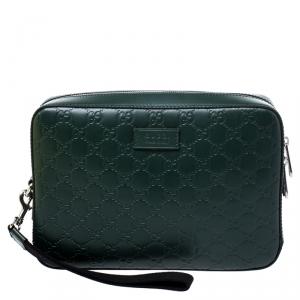Gucci Dark Green Guccissima Leather Zip Wristlet Pouch