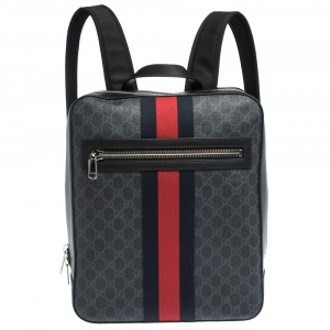 Gucci Black GG Supreme Canvas and Leather Web Backpack