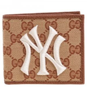Gucci Beige GG Canvas and Leather NY Yankees Patch Bifold Wallet