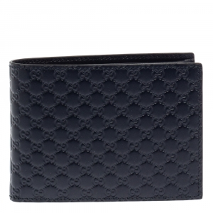 Gucci Navy Blue Leather Microguccissima Bifold Wallet