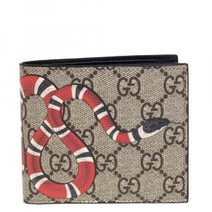 Gucci Beige GG Supreme Canvas Kingsnake Print Bifold Wallet