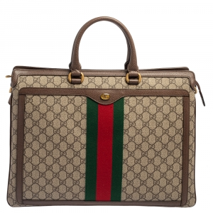 Gucci Beige/Ebony GG Supreme Canvas and Leather Ophidia Briefcase