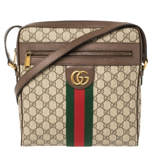 Gucci Brown/Beige GG Supreme Canvas And Leather Medium Ophidia Messenger Bag