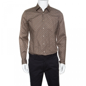 Gucci Brown Horsebit Printed Cotton Long Sleeve Slim Fit Shirt M