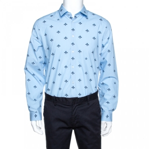 Gucci Blue Bee & Star Print Cotton Long Sleeve Duke Shirt L