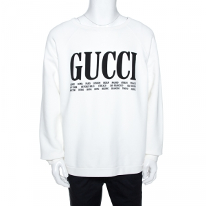 Gucci White Logo & Cities Print Cotton Sweatshirt M
