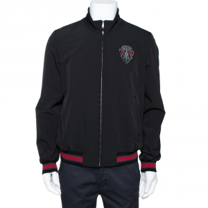 Gucci Black Synthetic Hysteria Web Zip Front Track Jacket M