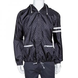 Gucci Black Logo Pattern Stripe Detail Hooded Shell Jacket XL