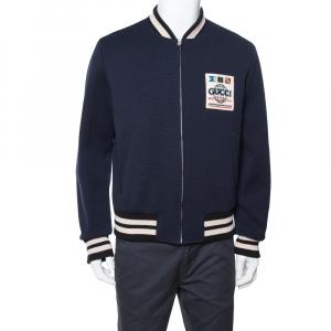 Gucci Navy Blue Wool Logo Patch Bomber Jacket XL