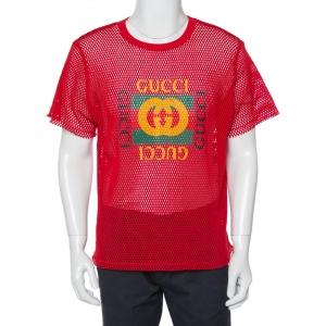 Gucci Red Mesh Logo Printed Crewneck T-Shirt XS