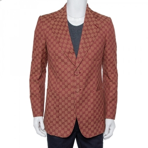 Gucci Brown Guccissima Jacquard Button Front Blazer L