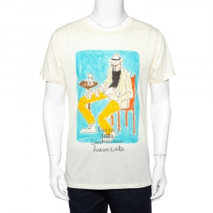 Gucci Garden Cream Printed Cotton Crewneck T-Shirt M