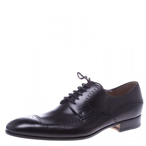 Gucci Brown Leather Lace Up Oxfords Size 41