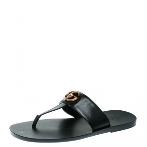 Gucci Black Leather GG Thong Slipper Sandals Size 42