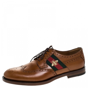 Gucci Brown Leather Bee Web Detail Lace Up Brogue Oxfords Size 41.5