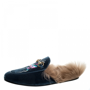 Gucci Blue Embroidered Velvet And Fur Princetown Horsebit Loafer Slides Size 42