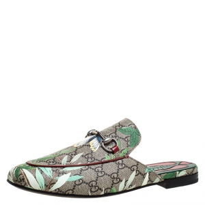 Gucci Multicolor GG Supreme Monogram Coated Canvas Tian Princetown Flat Mules Size 41